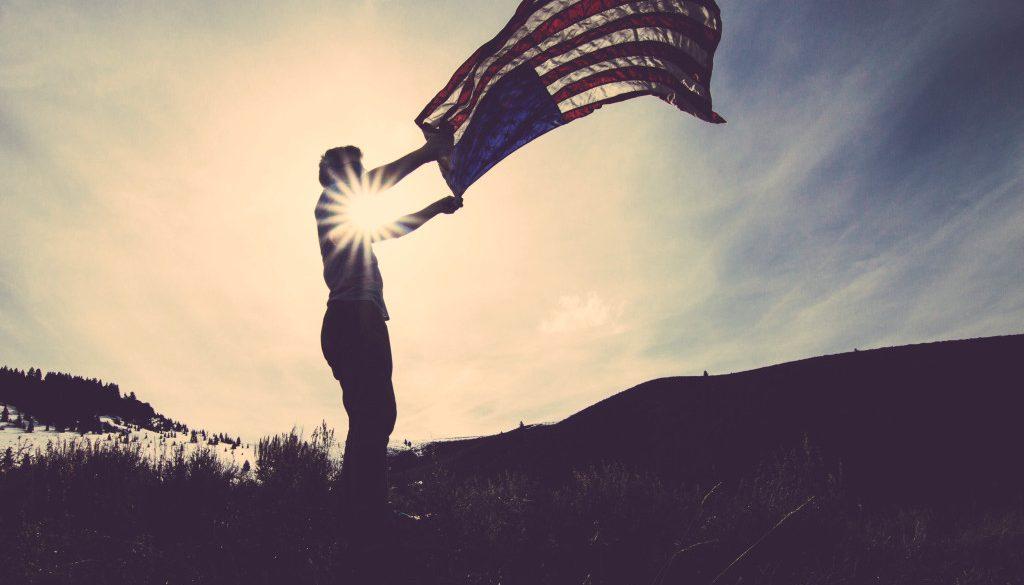 sunset flag america fields
